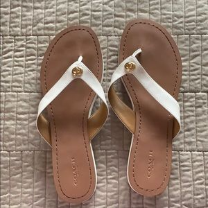Authentic Coach flat leather thong sandals